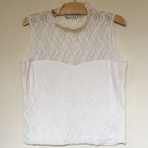 Separate Elements Stretch Lace Sleeveless Top (L)